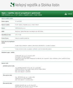 Výpis platných údajů z obchodního rejstříku CEDR Pardubice